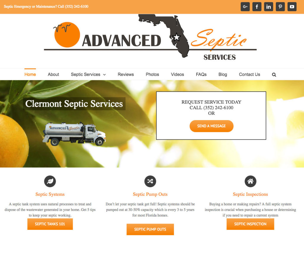 Web Design, Homepage for Advanced Septic Services