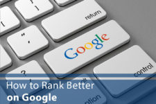 "Keyboard with ""Google"" button and words ""How to Rank Better on Google"""