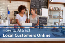 """two women working at a coffee shop with words: """"How to Attract Local Customers"""""""